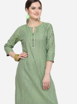 Green Plain Party Wear Kurti