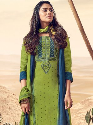 Green Polly Cotton Salwar Suit