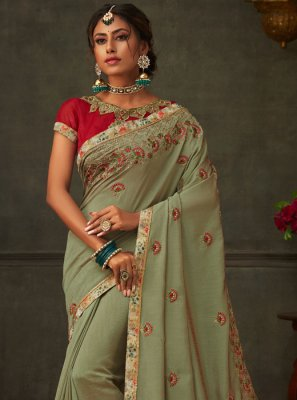 Green Poly Silk Ceremonial Designer Saree