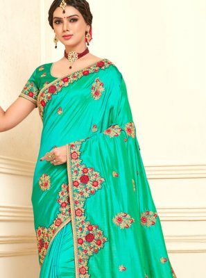 Green Poly Silk Designer Saree