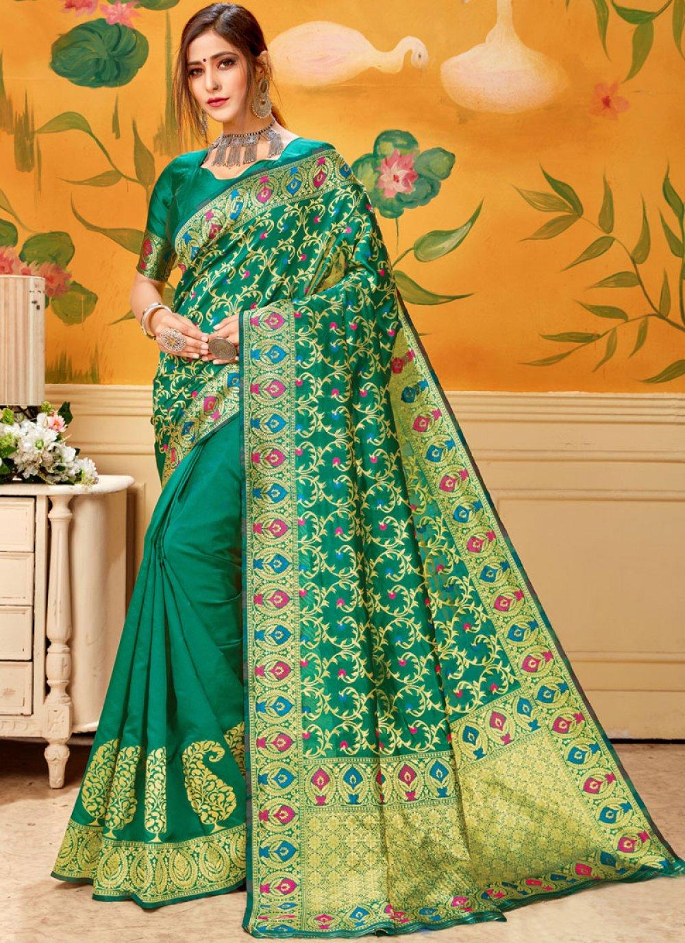 Green Print Cotton Casual Saree