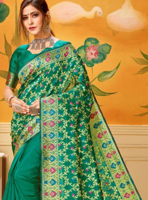 Green Print Cotton Casual Saree
