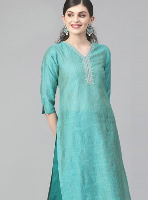 Green Print Cotton Designer Kurti