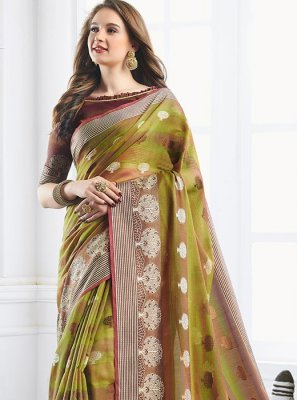 Green Print Party Shaded Saree