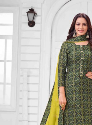 Green Print Salwar Suit