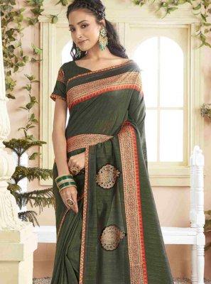 Green Print Silk Designer Saree