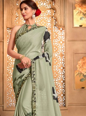 Green Printed Casual Designer Saree