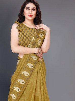 Green Printed Casual Saree