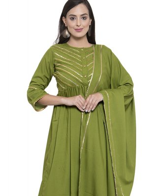 Green Printed Ceremonial Salwar Kameez