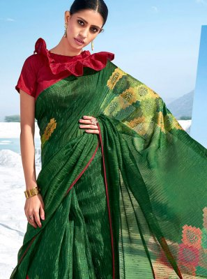 Green Printed Classic Saree