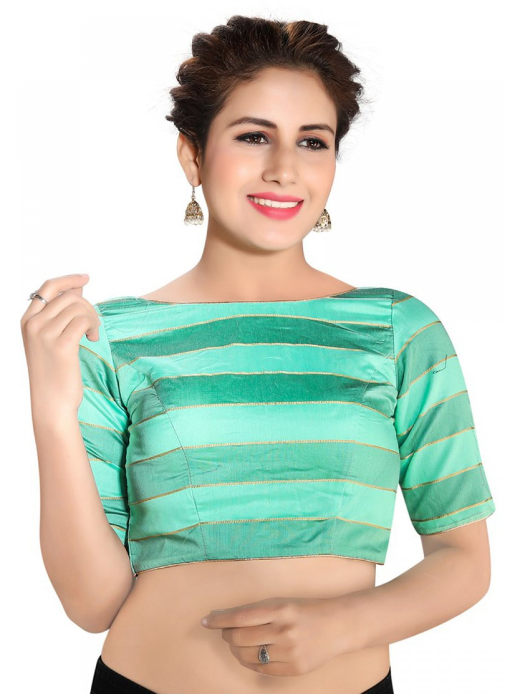 Green Printed Designer Blouse