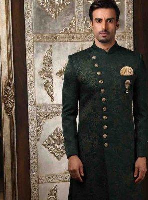 Green Printed Engagement Indo Western Sherwani