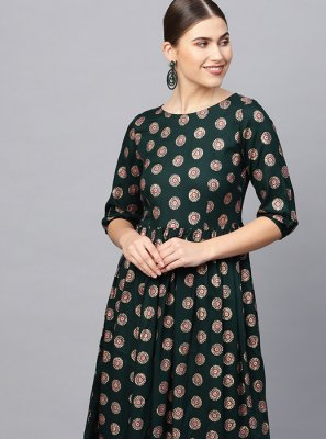 Green Printed Festival Party Wear Kurti