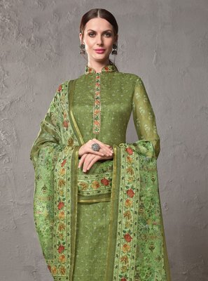 Green Printed Festival Salwar Suit