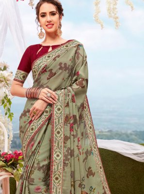 Green Printed Party Casual Saree