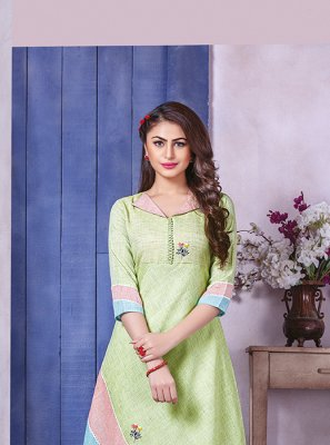 Green Printed Party Wear Kurti