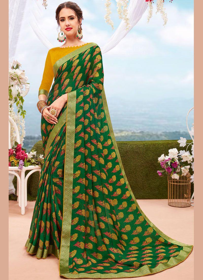 Green Printed Printed Saree