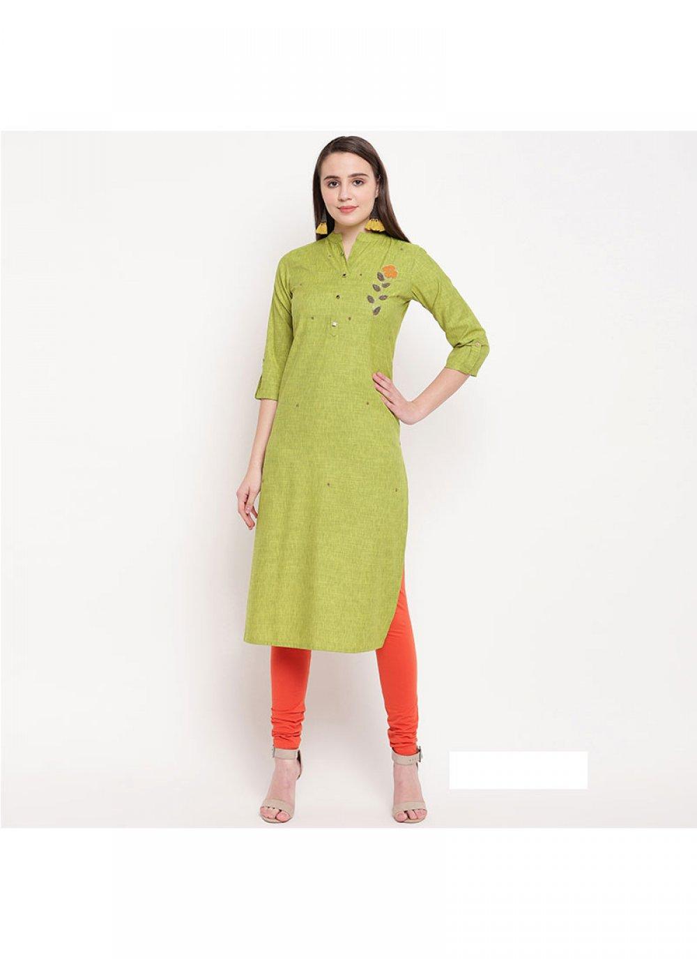 Green Printed Rayon Party Wear Kurti
