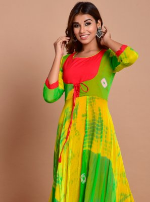 Green Printed Readymade Trendy Gown
