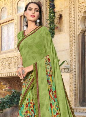 Green Printed Trendy Saree