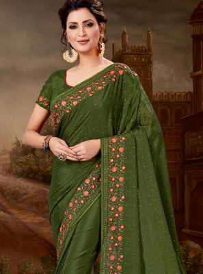 Green Pure Chiffon Designer Saree