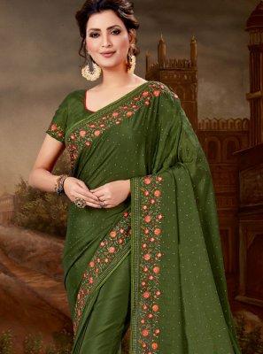 Green Pure Chiffon Designer Saree