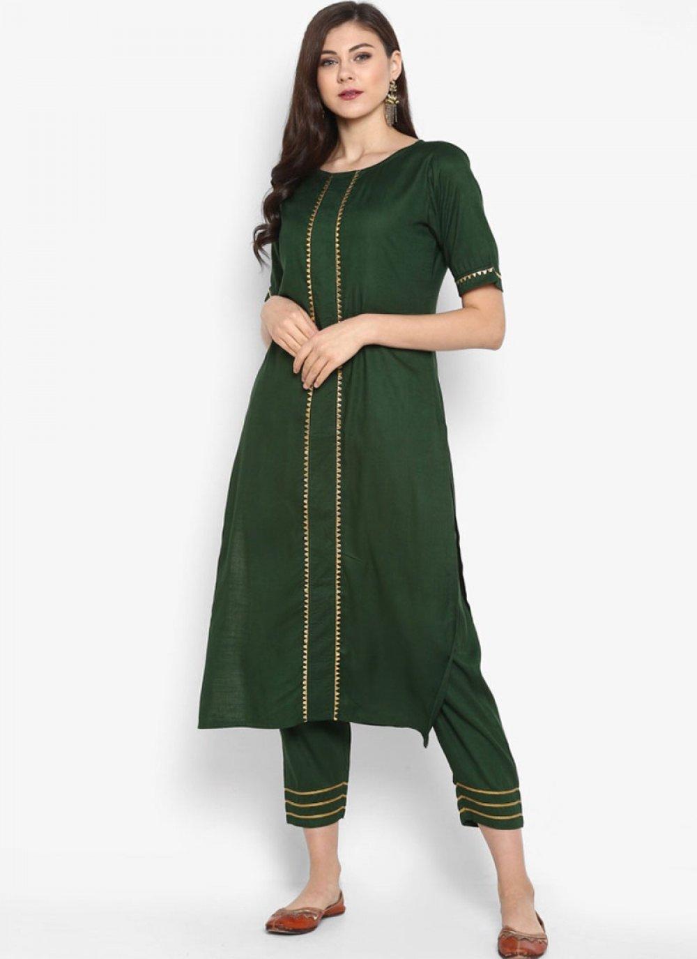 Green Rayon Casual Kurti