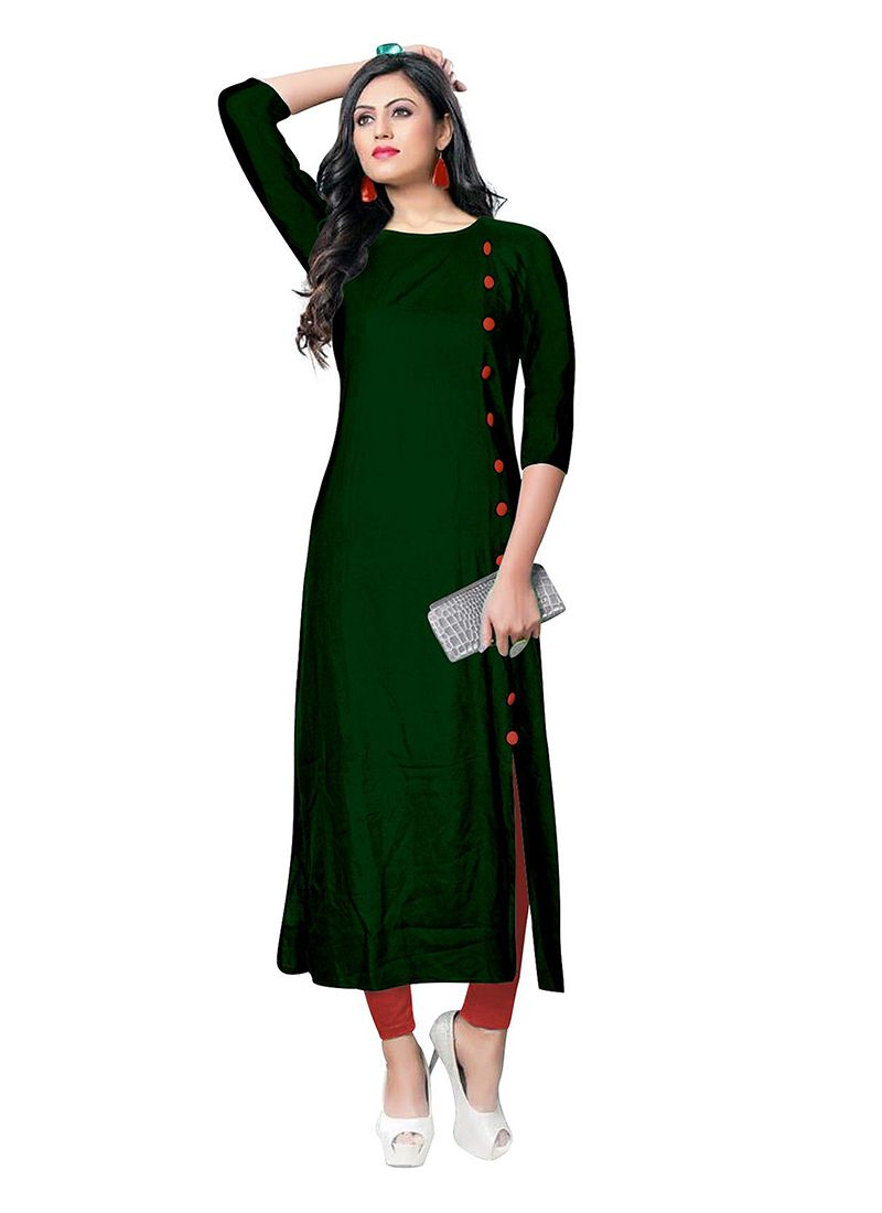 Green Rayon Party Wear Kurti