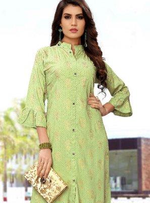 Green Rayon Print Party Wear Kurti