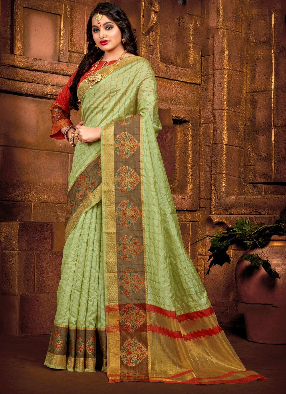 Green Reception Casual Saree