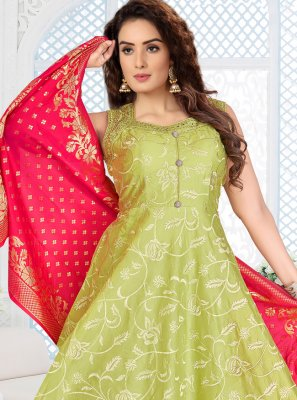 Green Reception Chanderi Readymade Salwar Kameez