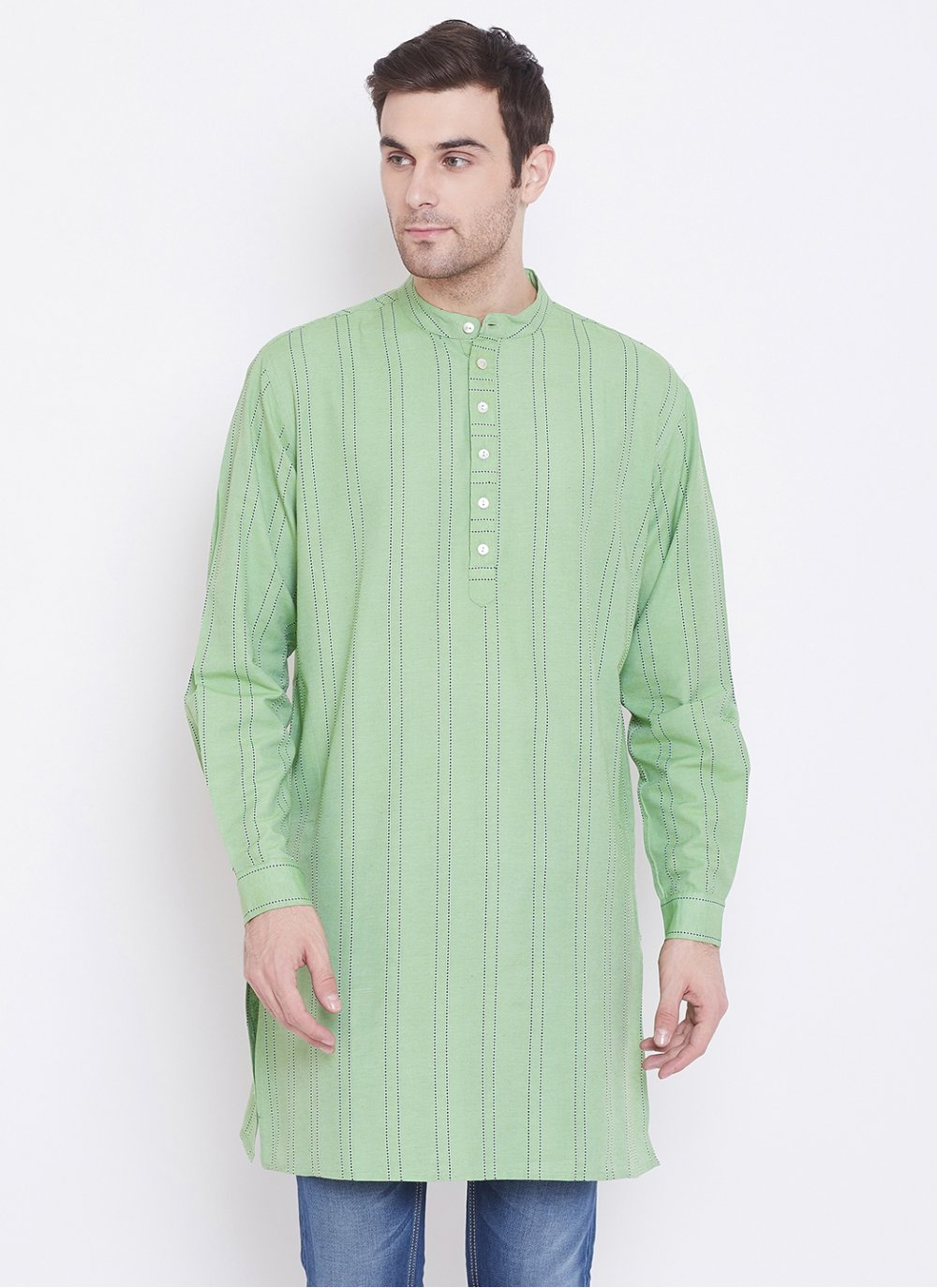 Green Reception Cotton Kurta