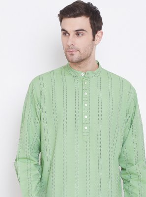 Green Reception Cotton Kurta
