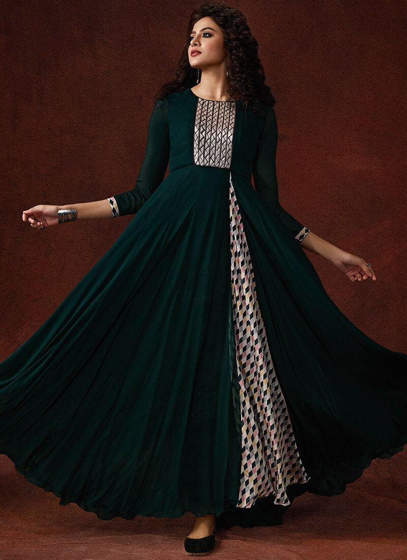 Green Reception Faux Georgette Designer Gown