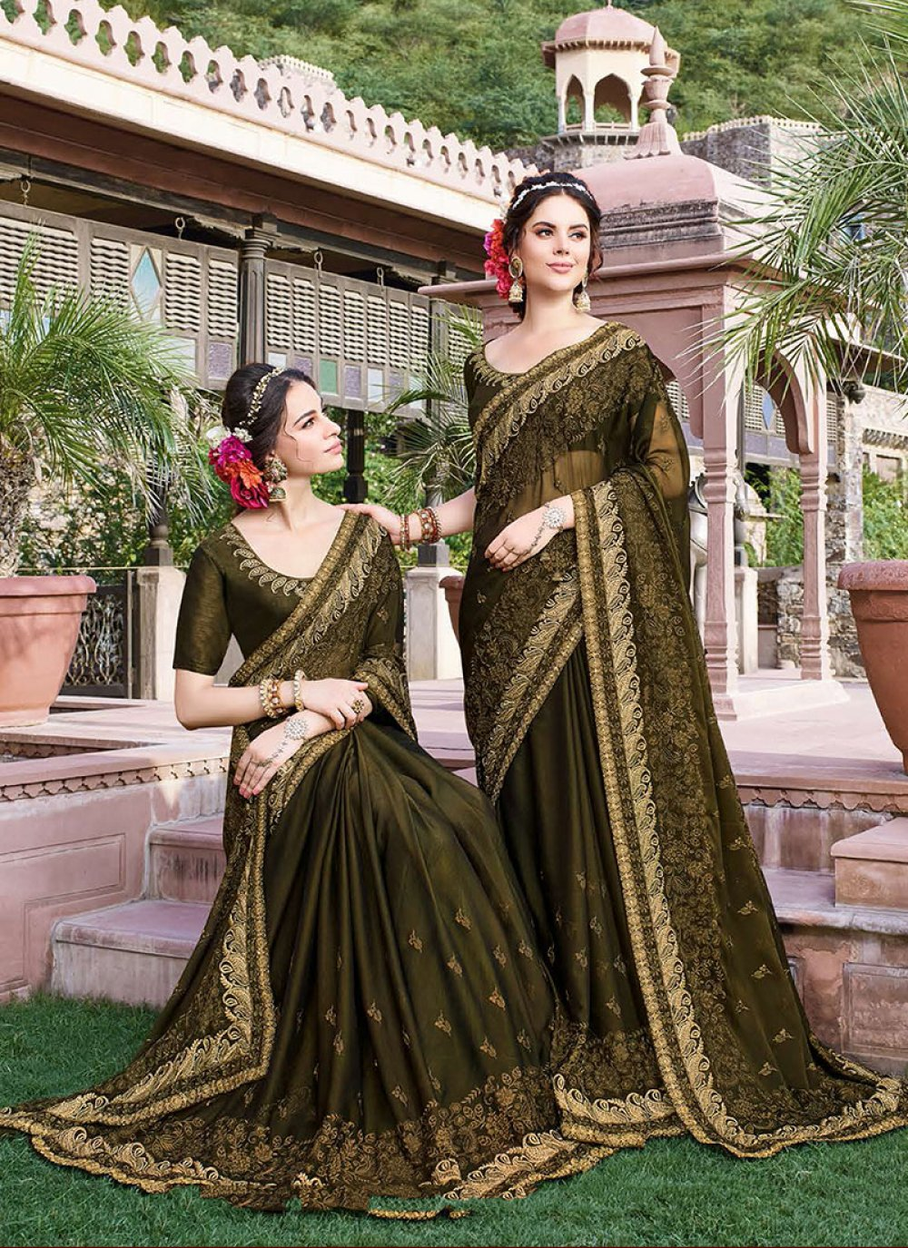 Green Reception Georgette Classic Designer Saree