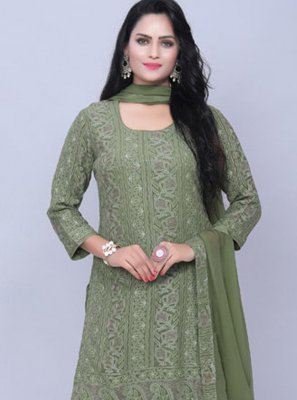Green Reception Georgette Designer Pakistani Suit