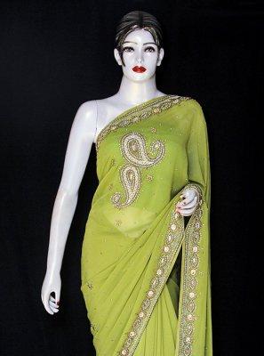 Green Reception Georgette Designer Saree