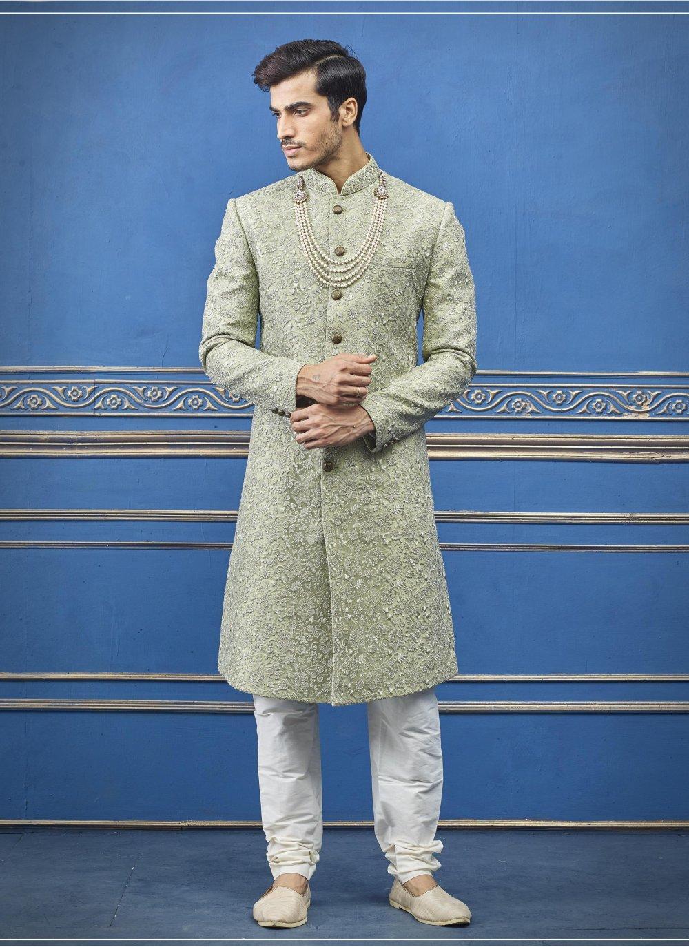 Green Reception Pure Silk Sherwani