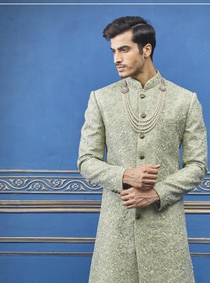 Green Reception Pure Silk Sherwani