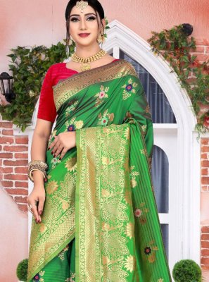 Green Reception Silk Classic Designer Saree