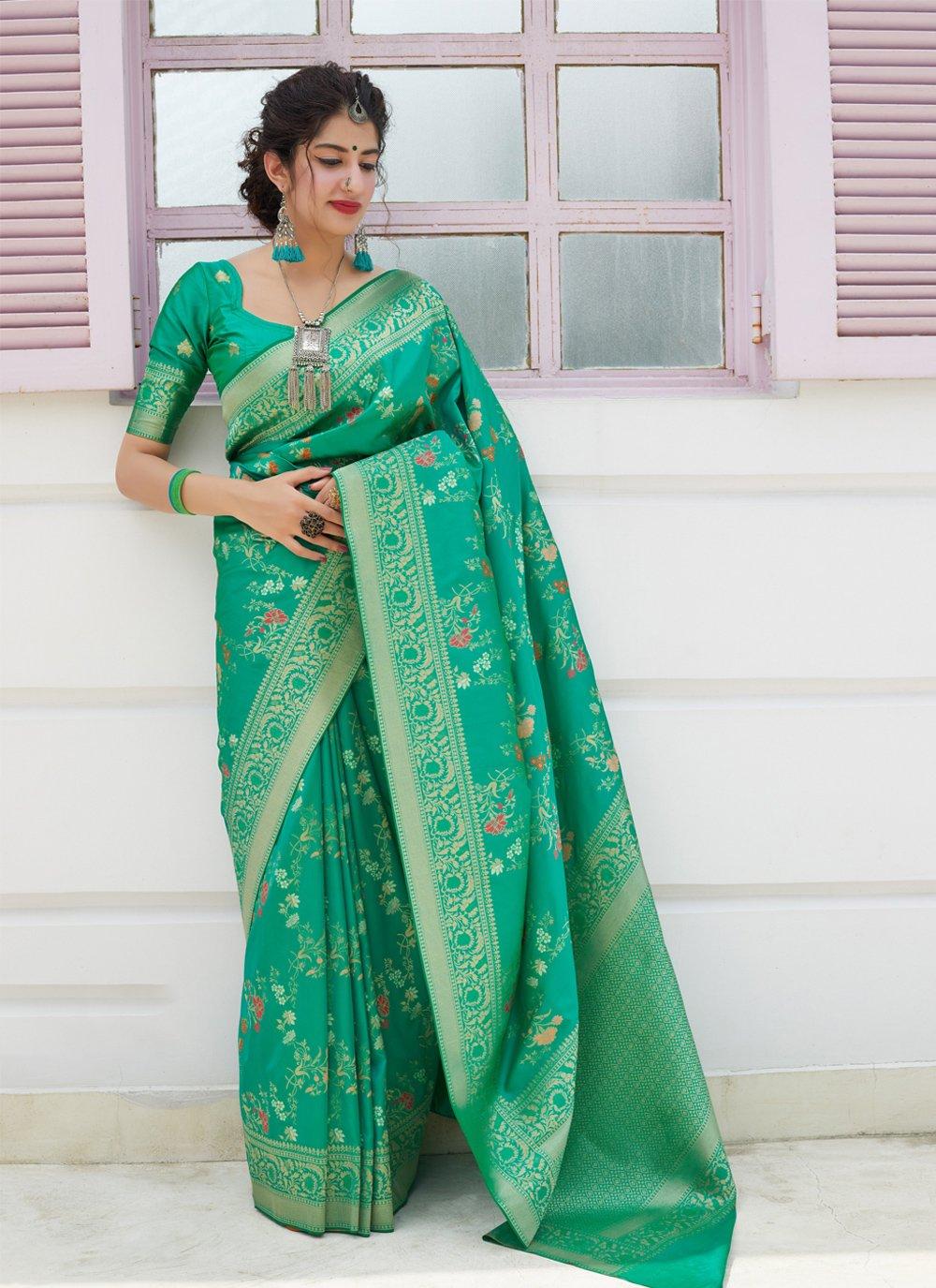 Green Reception Silk Silk Saree