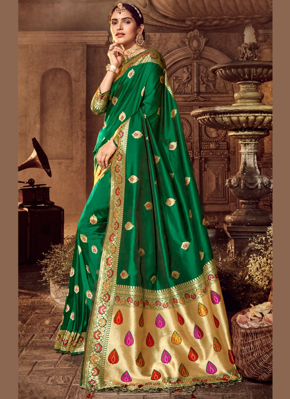 Green Reception Silk Trendy Saree