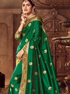 Green Reception Silk Trendy Saree