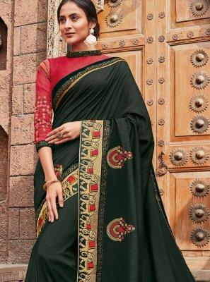 Green Resham Classic Designer Saree