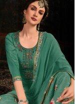 Green Resham Cotton Satin Salwar Kameez