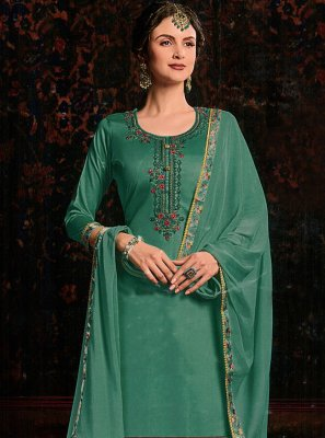 Green Resham Cotton Satin Salwar Kameez