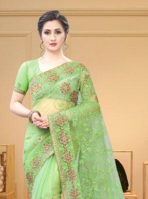 Green Resham Net Contemporary Saree