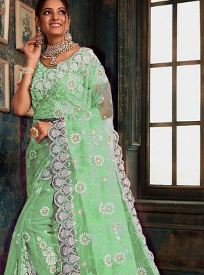 Green Resham Net Designer Saree