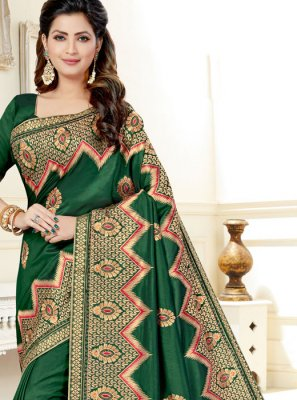 Green Resham Party Designer Saree