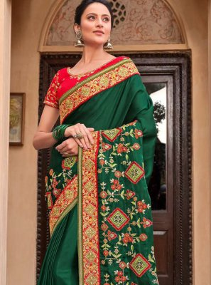 Green Resham Reception Traditional Designer Saree